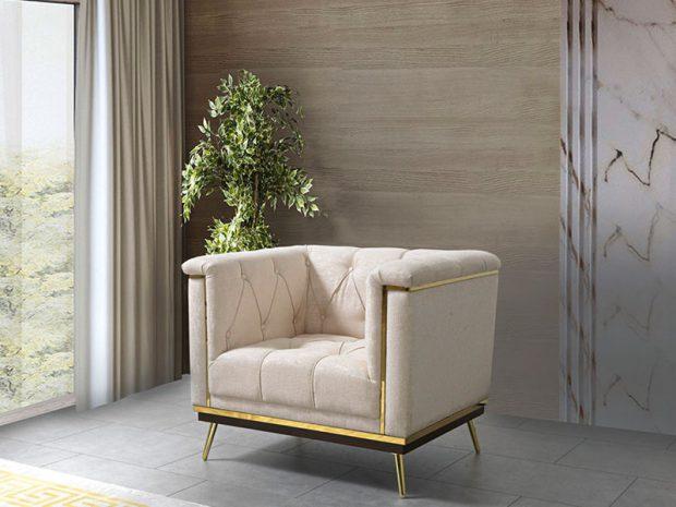 כורסא מרופדת בצבע לבן - פולרם